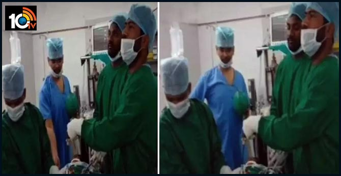 huzurabad govt hospital rmo Doctor tiktok video performing surgery along with the team has triggering outrage
