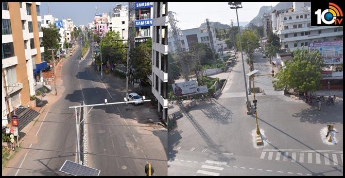 Vizag and Vijayawada Roads all roads empty due to Andhra Pradesh Lockdown