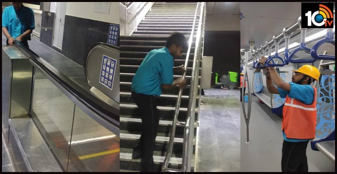 Hyderabad Metro staff spray disinfectant at stations, metro coaches to prevent coronavirus outbreak