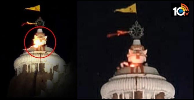 Holy flag atop Jagannath temple in Odisha's Puri catches fire