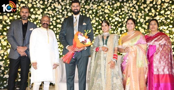 Jayasudha kapoor's elder son Nihar's wedding reception with Amrit