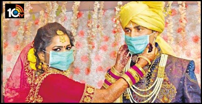 Metpalli wedding: couple wear protective masks in viral