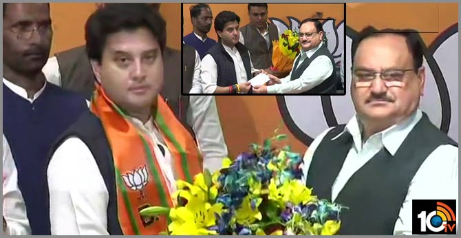 jyotiradithya scindia joins BJP at party headquarters, in the presence of party president JP Nadda