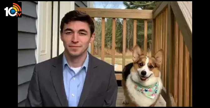 journalist live telecast from home with his Puppy