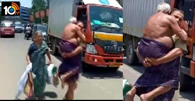kerala son forced to carry ailing father on foot after police stop auto due to lockdown