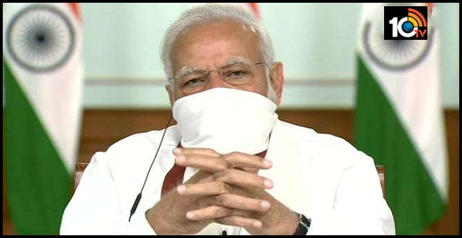 Modi with CMs: video conference wearing masks