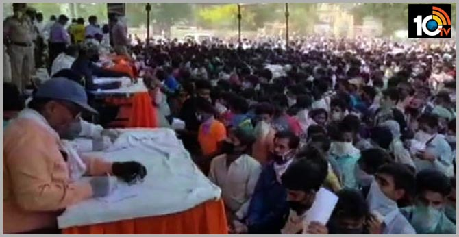 thousands of migrant workers gather at ramlila ground In UP