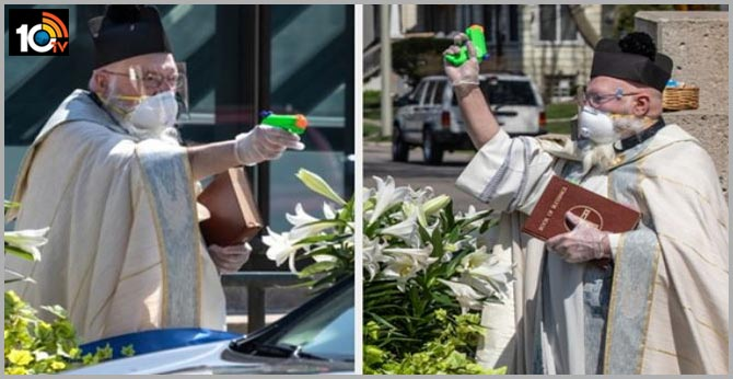 America church priest squirts water from a toy gun