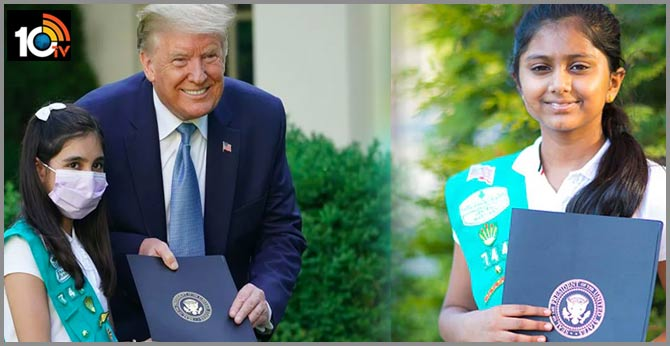 President Trump honours 10-year-old Indian-American girl for donating cookies to nurses, firefighters