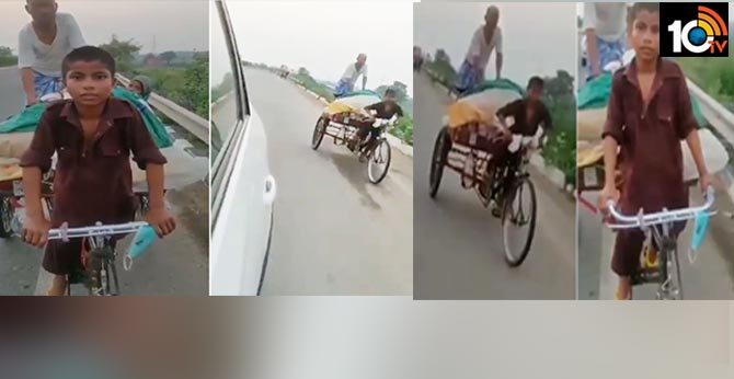 11-year-old boy taking his parents on a cycle rickshaw.