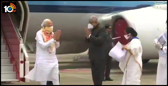 PM Arrives In Cyclone-Hit West Bengal, Met By Mamata Banerjee At Airport