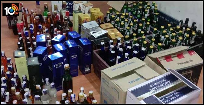 Alcohol was stolen at the police station in karimnagar