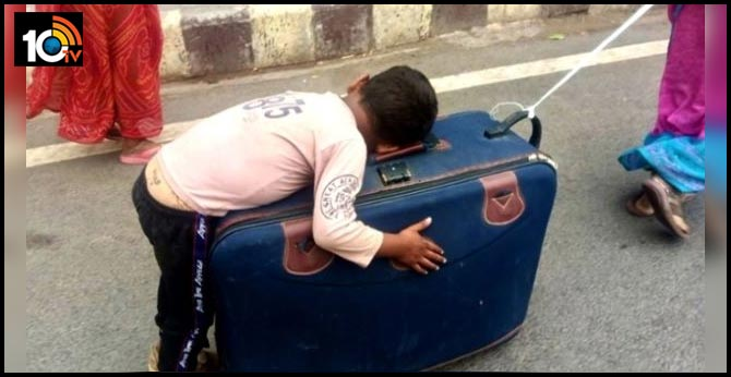 Pic Of Migrant Child Sleeping On Suitcase Goes Viral, Internet Asks 'What Atmanirbhar Bharat?'