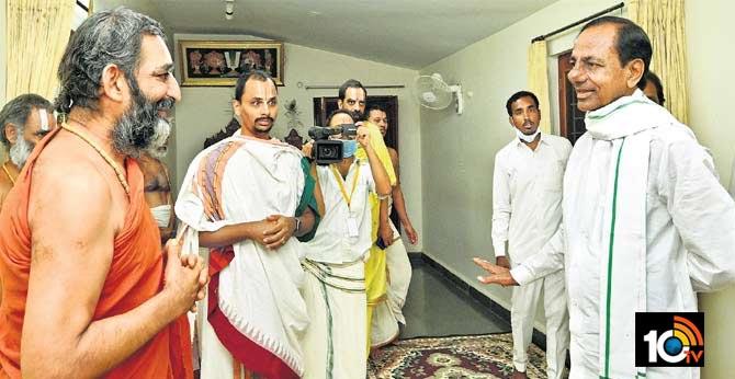 Start of Kondapochamma project Inauguration CM KCR meets Chinna Jeeyar Swami
