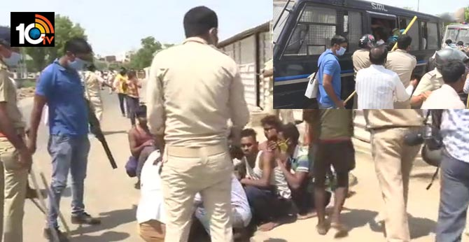 clash between police and migrant labourers took place in ahmedabad