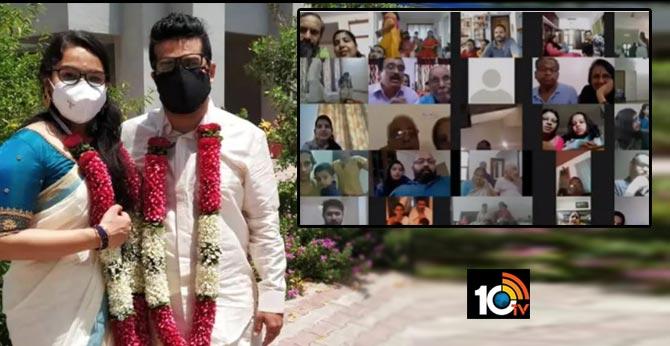 Assam bride and groom make each other wear face masks