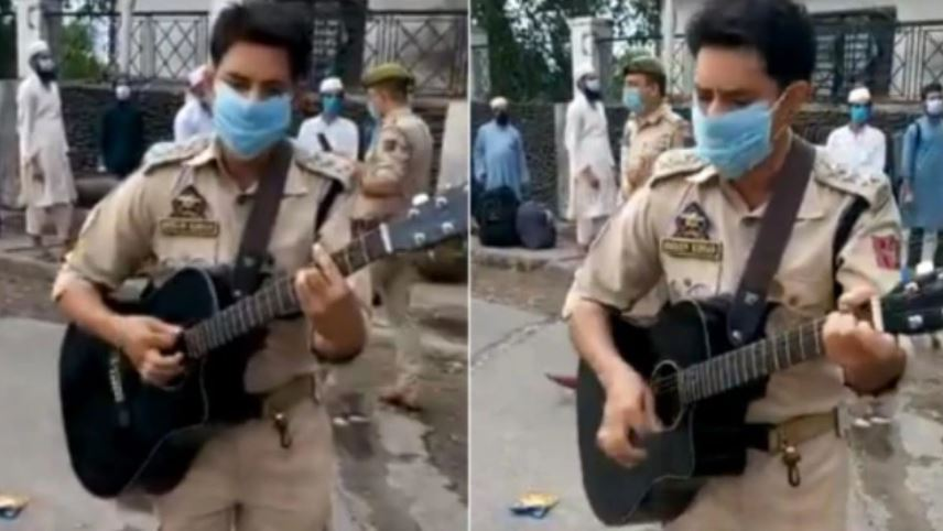 Jammu Cop plays guitar sings songs for passengers at Jammu station migrant send off workers