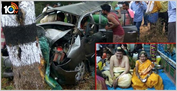 Bride and groom killed in road accident in west godavari district