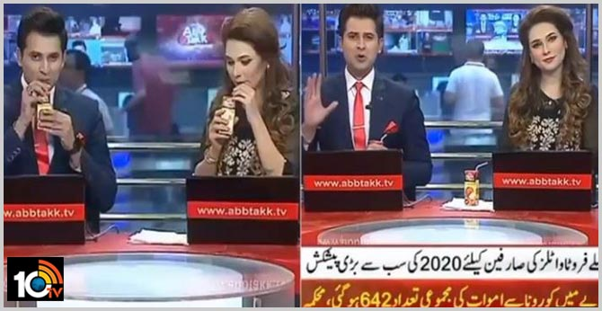 pakistani anchors promoting a juice brand during prime time