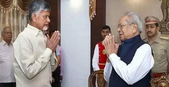 TDP Chief Chandrababu Naidu complaints to Governor about State govt rule