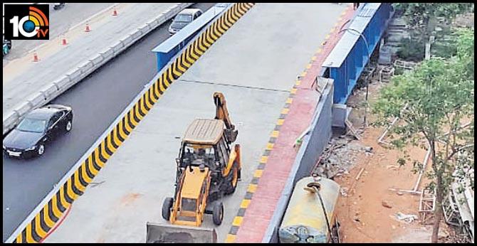 construction complete of steel bridge in panjagutta