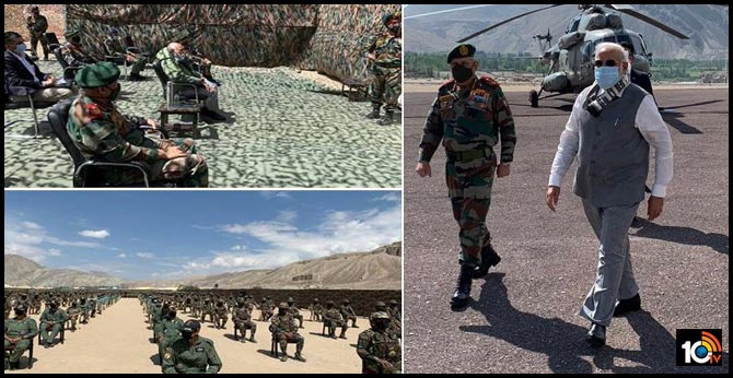 Modi Visit Ladakh Accompanied By CDS Bipin Rawat And Army Chief
