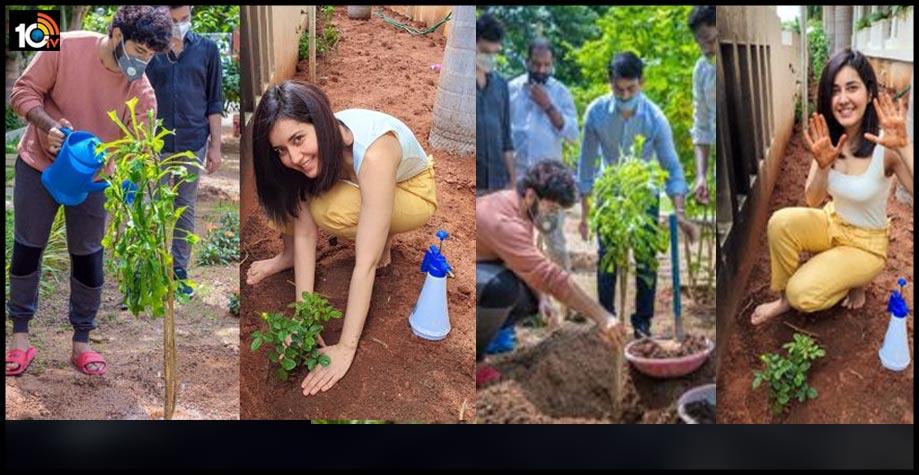 actress-raashi-khanna-and-director-prasanth-varma-plant-sapling-under-green-india-challenge