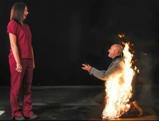 uk stuntman was literally on fire when he popped the question to his girlfriend - his proposal pic is viral
