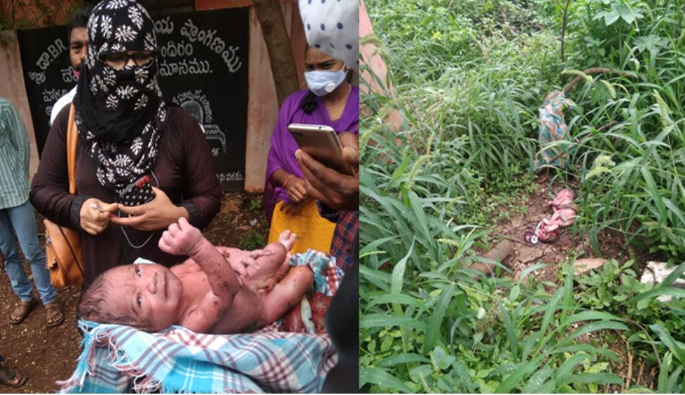 vikarabad district Nagula temple leaving a baby in the bushes