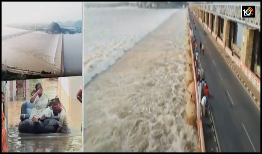 Flood Water కృష్ణమ్మ పరుగులు, కృష్ణా నది ముంపు ప్రాంతాల ప్రజల్లో టెన్షన్